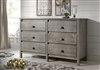 Baja Six Drawer Dresser - Rustic Grey Finish