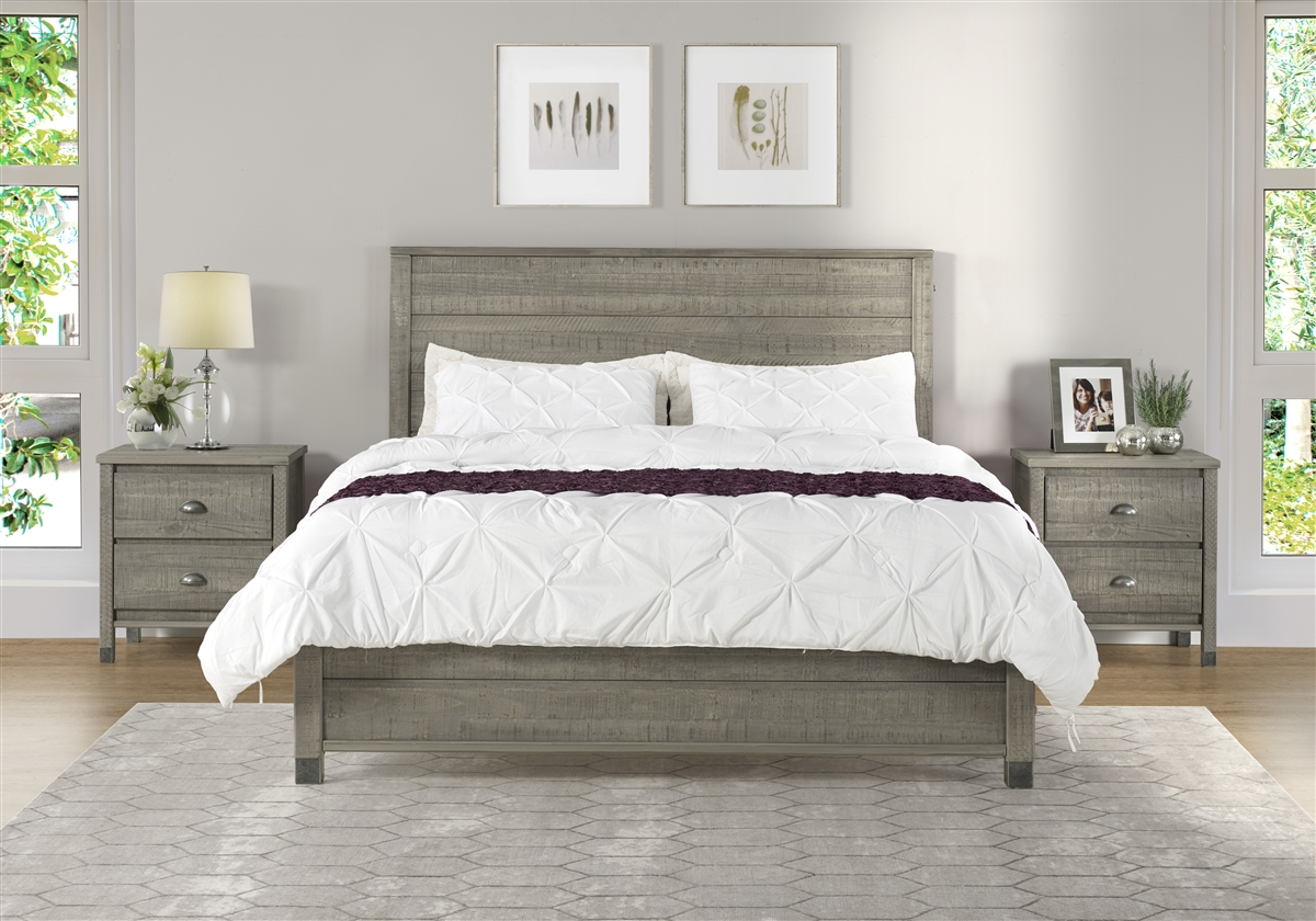 Platform Bed In Rustic Gray Finish