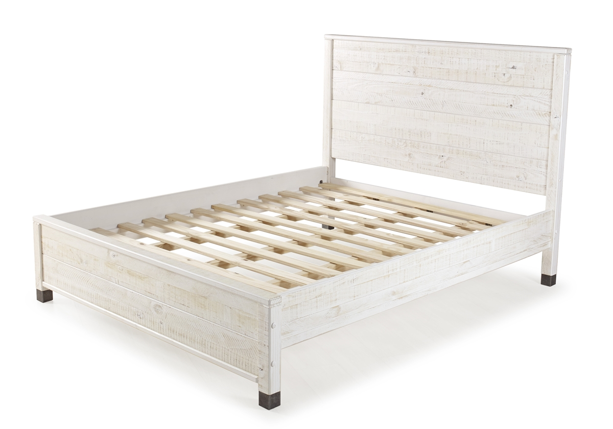Picture of: Platform Bed In Shabby White Finish