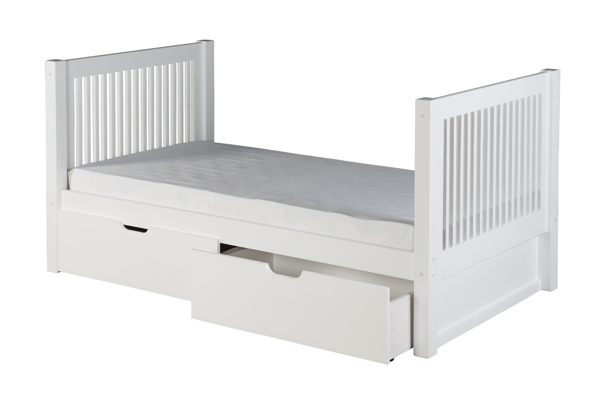 Picture of: Twin Tall Platform Bed Drawers Mission White