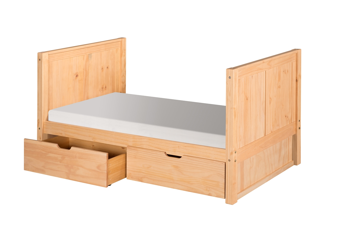 Twin Tall Platform Bed Drawers Panel Clear