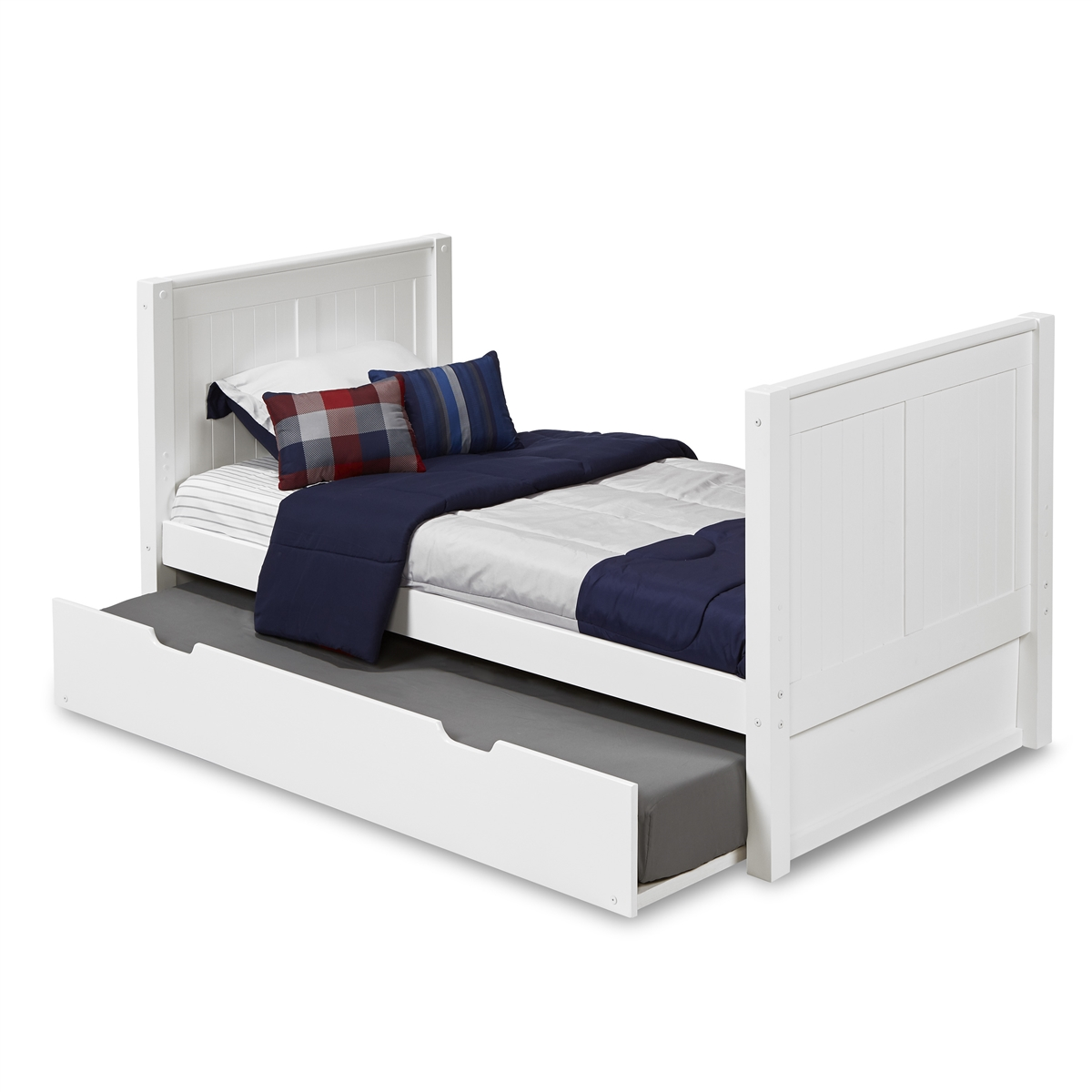 Twin Tall Platform Bed Trundle Panel White