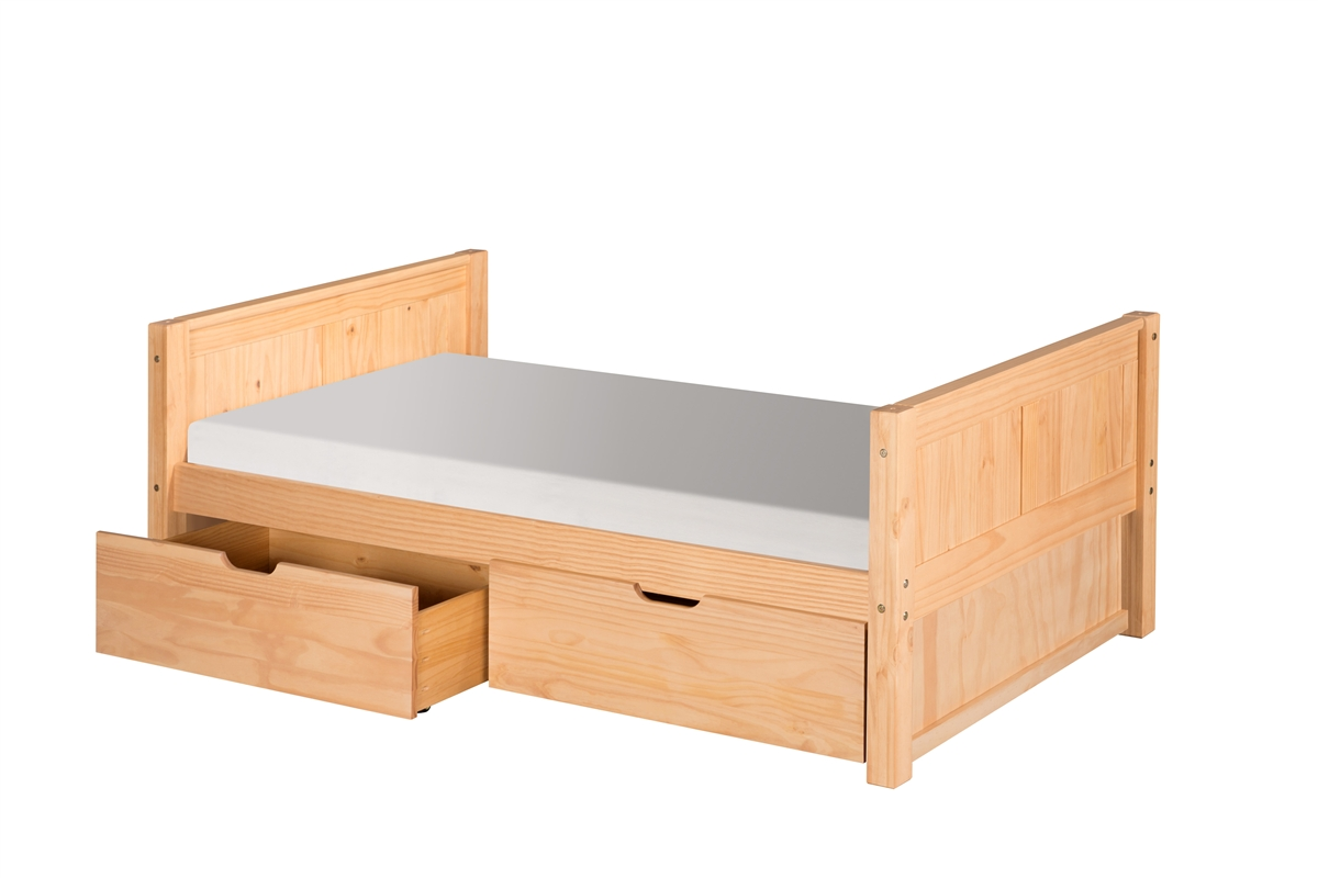 Camaflexi Twin Size Platform Bed With Drawers Panel Headboard Natural Finish