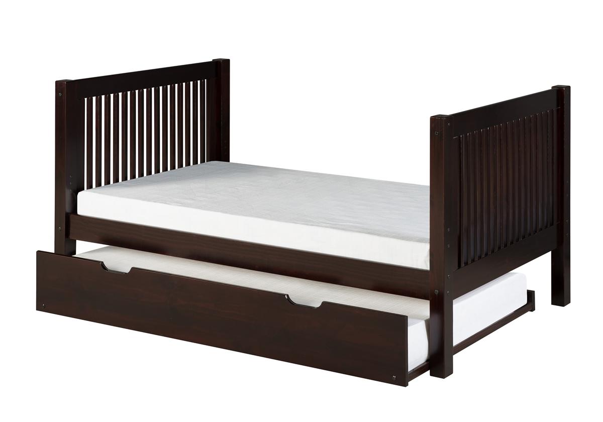 Full Size Platform Bed Trundle Mission Style Black