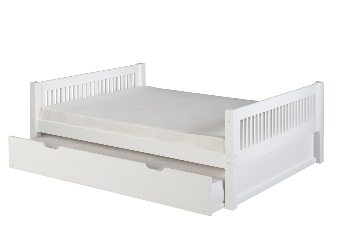 Camaflexi Full Size Platform Bed With Twin Trundle Mission Headboard White Finish