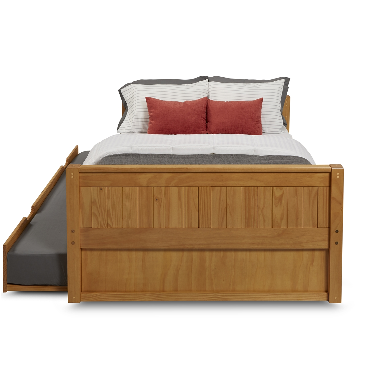 Full Size Platform Bed Trundle Panel Style Clear