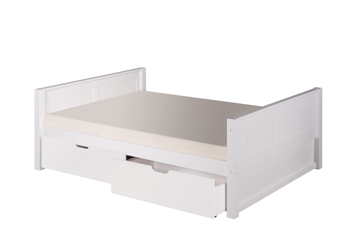 Picture of: Full Size Platform Bed Drawers Panel Style White