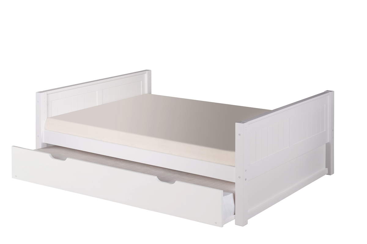 Full Size Platform Bed Trundle Panel Style White