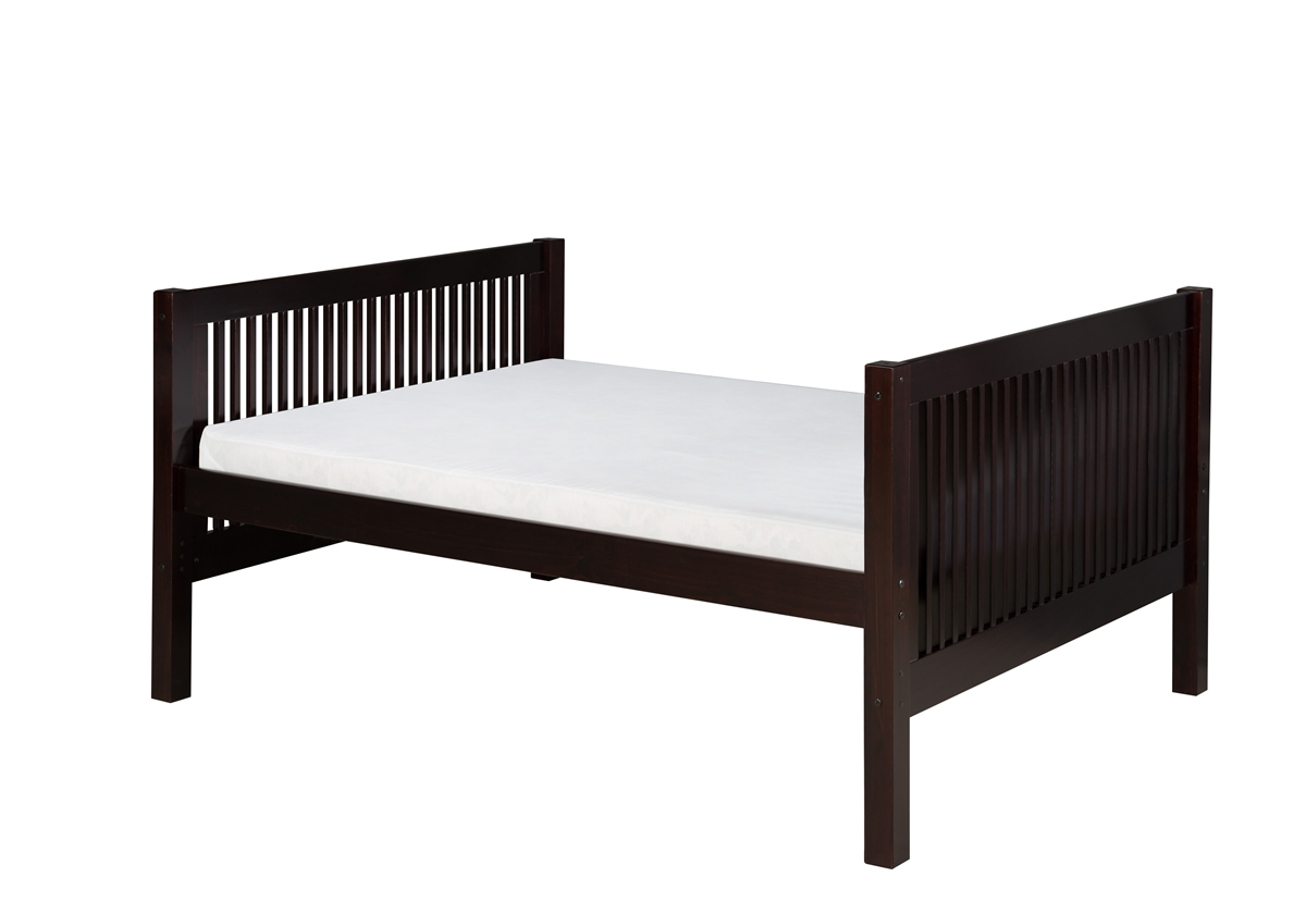 Full Size Platform Bed Tall Mission Style Black