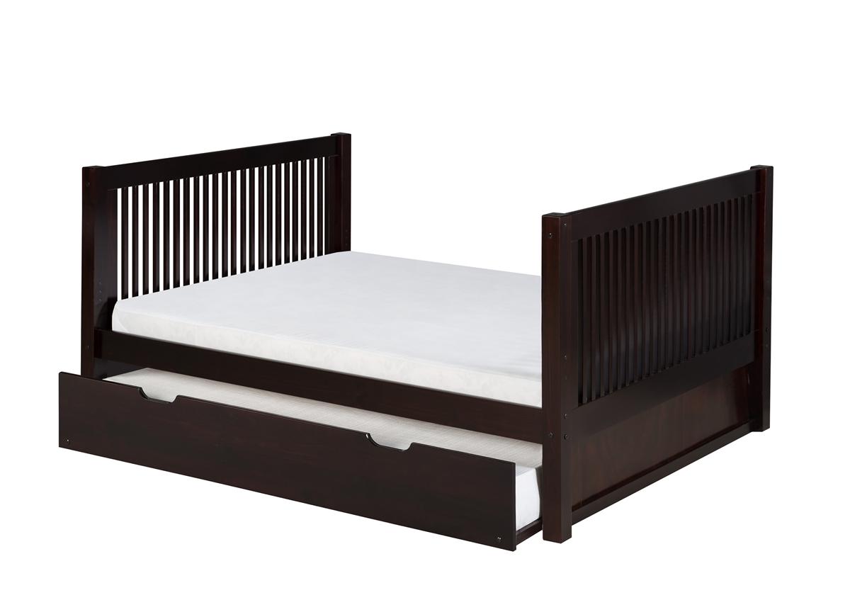 Full Size Platform Bed Tall Trundle Mission Black