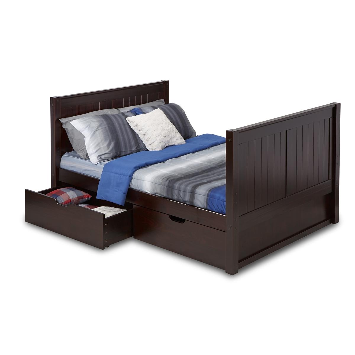 Full Size Platform Bed Tall Drawers Panel Black