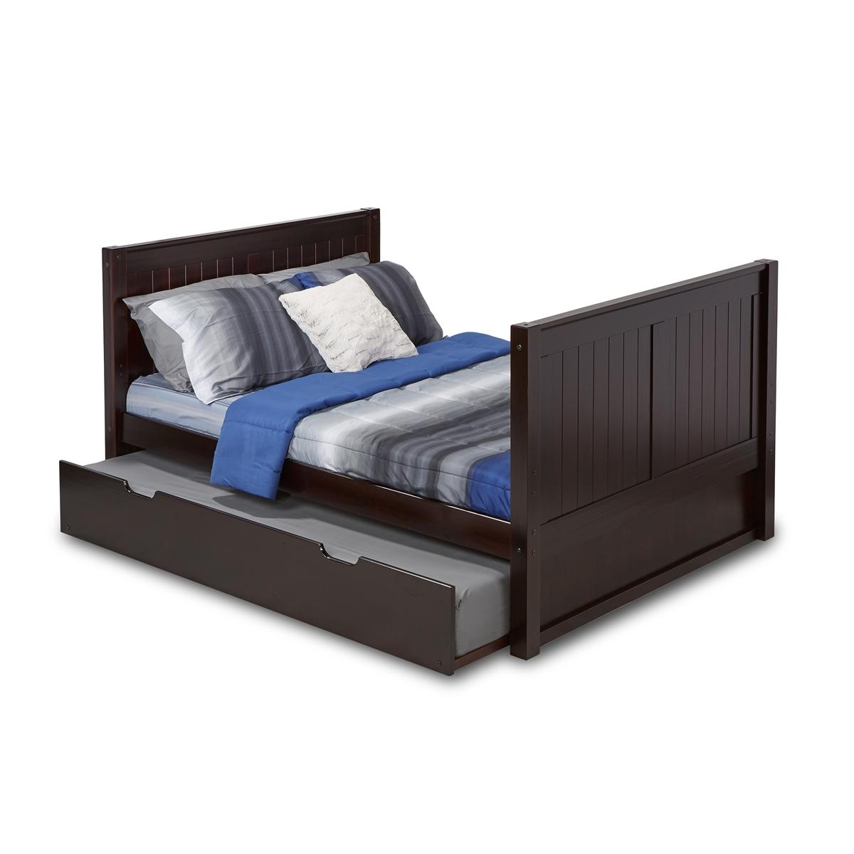 Full Size Platform Bed Tall Trundle Panel Black