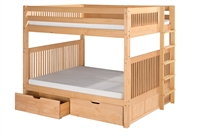 Camaflexi Full over Full Bunk Bed with Drawers - Mission Headboard - Bed End Ladder - Natural Finish