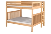 Camaflexi Full over Full Bunk Bed - Mission Headboard - Bed End Ladder - Natural Finish