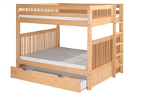 Camaflexi Full over Full Bunk Bed with Twin Trundle - Mission Headboard - Bed End Ladder - Natural Finish