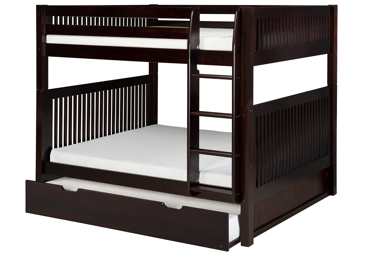 Full Over Full Bunk Bed Trundle Mission Cappuccino