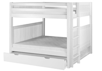 Camaflexi Full over Full Bunk Bed with Twin Trundle - Mission Headboard - Bed End Ladder - White Finish