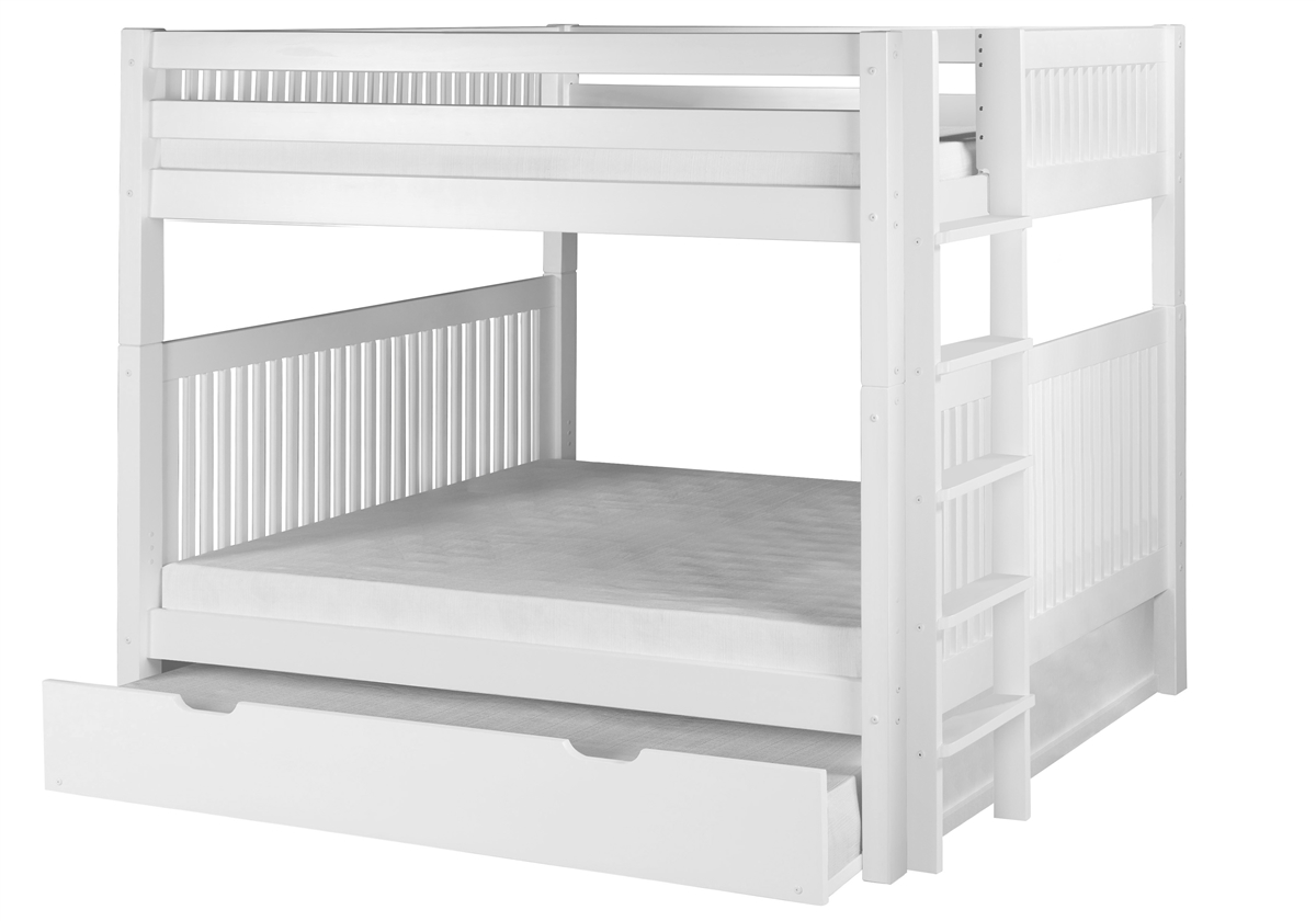 Picture of: Full Over Full Bunk Bed With Twin Trundle Mission Headboard Bed End Ladder White