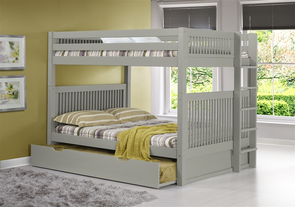 Full over Full Bunk Bed with Trundle Mission Headboard Lateral Angle