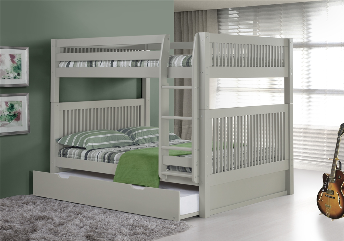 Full Over Full Bunk Bed With Trundle Mission Headboard Grey