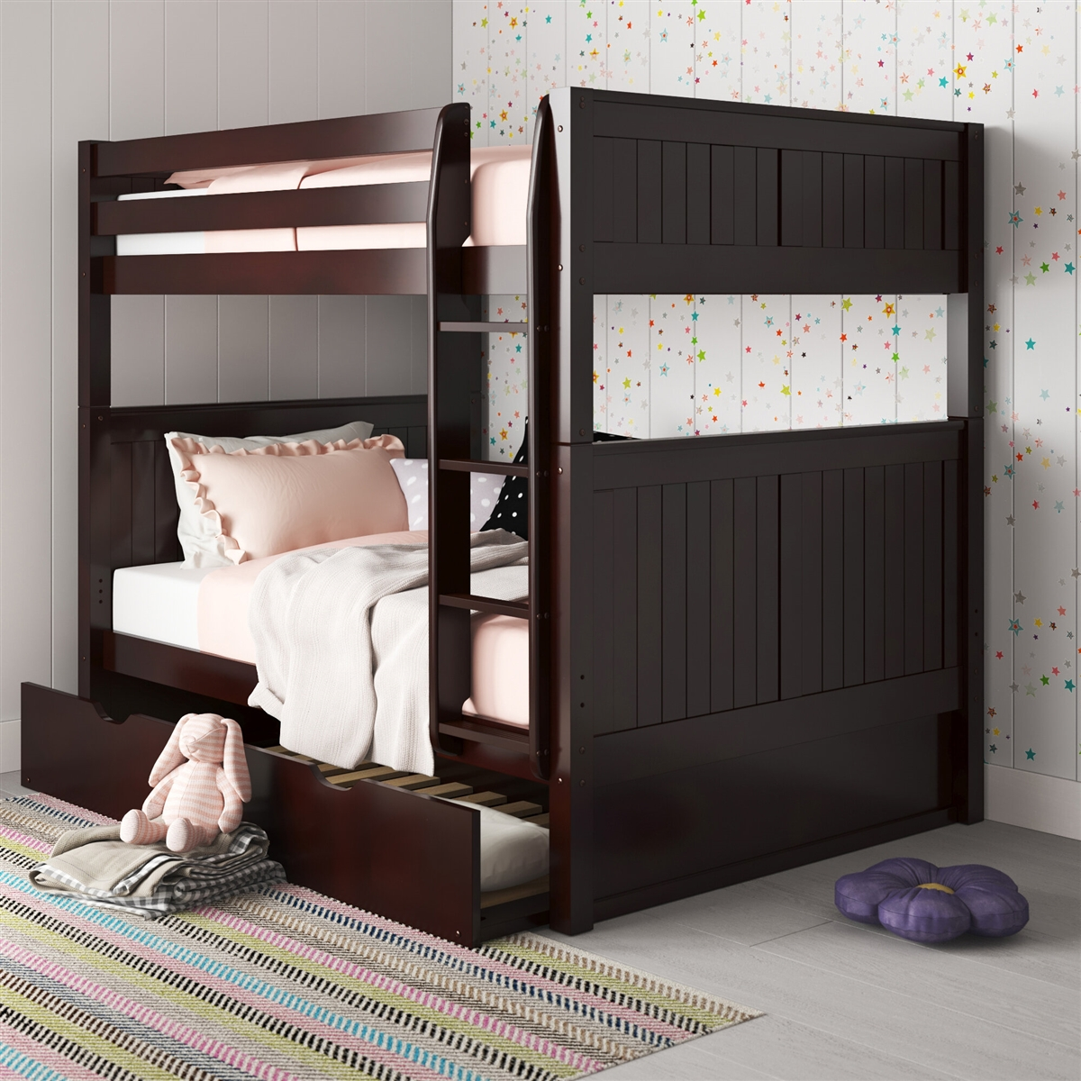 Full Over Full Bunk Bed Trundle Panel Cappuccino