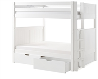 Camaflexi Full over Full Bunk Bed with Drawers - Panel Headboard - Bed End Ladder -White Finish