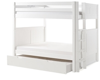 Camaflexi Full over Full Bunk Bed with Twin Trundle - Panel Headboard - Bed End Ladder - White Finish