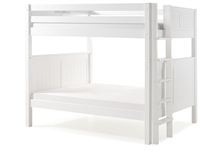 Camaflexi Full over Full Bunk Bed - Panel Headboard - Bed End Ladder - White Finish