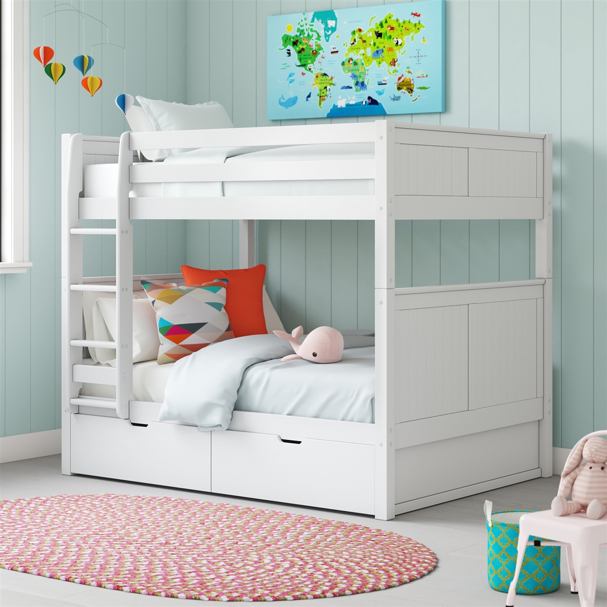 Picture of: Full On Full Bunk Bed Drawers Panel White