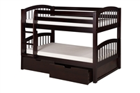 Camaflexi Low Bunk Bed with Drawers- Arch Spindle Headboard