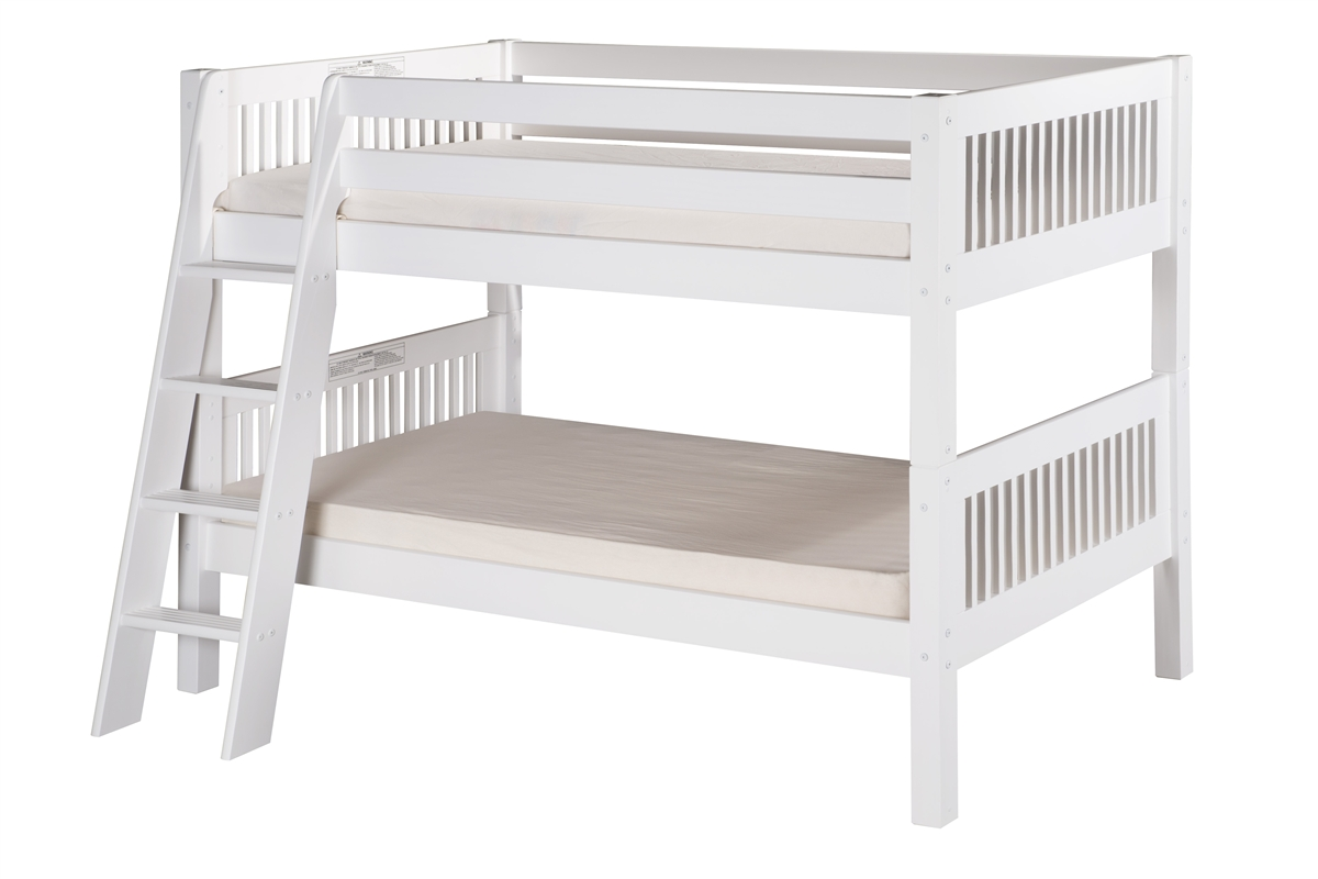 low bunk bed angle ladder mission headboard white - camaflexi low bunk bed angle ladder
