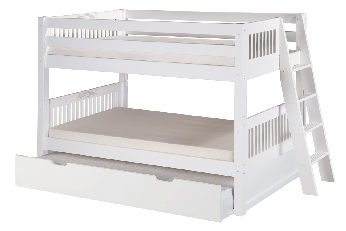 Low Bunk Bed Angle Ladder Trundle Mission White