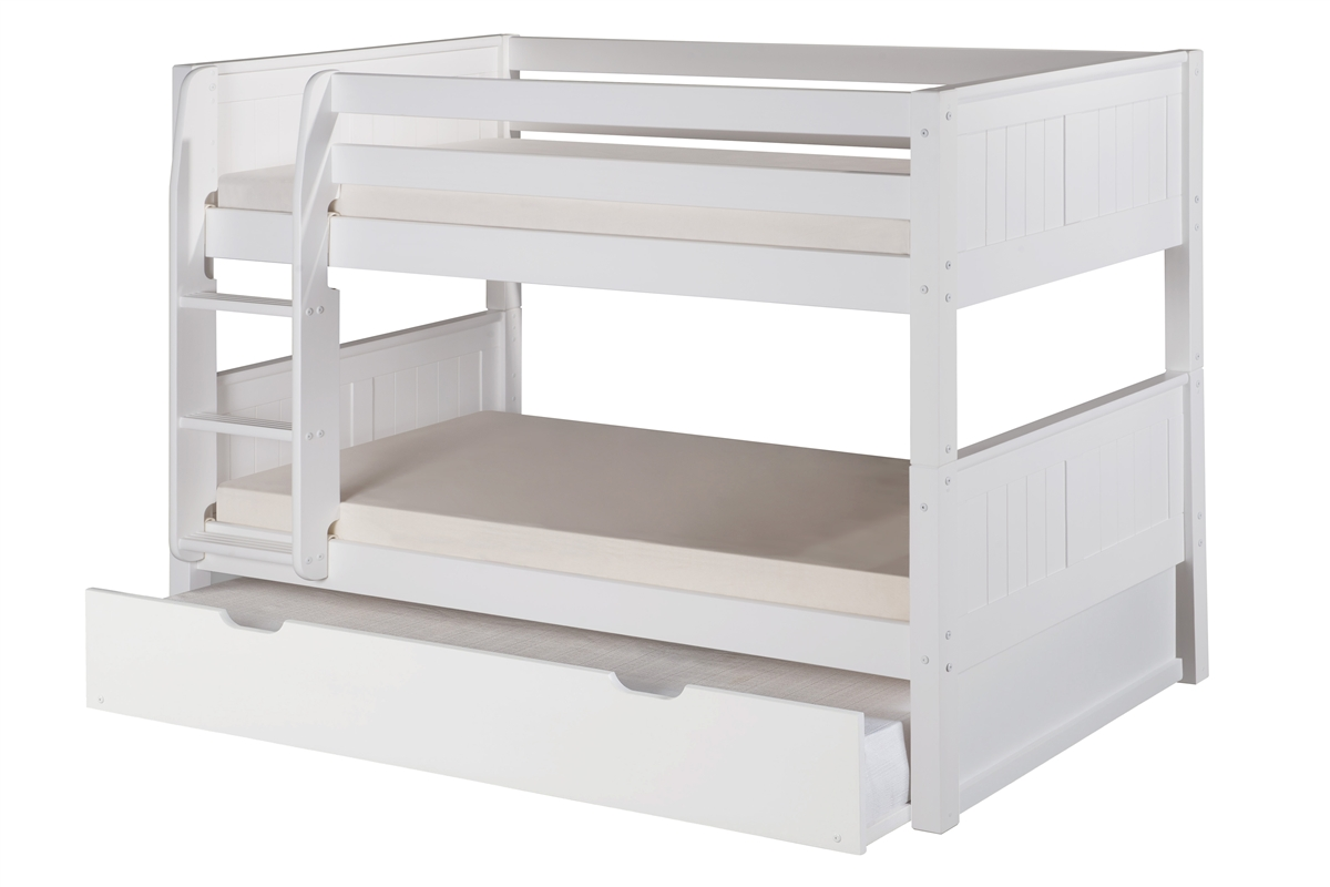 low bunk bed with trundle panel headboard white