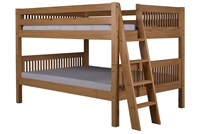 Camaflexi Full over Full Low Bunk Bed Lateral Angle Ladder with Drawers