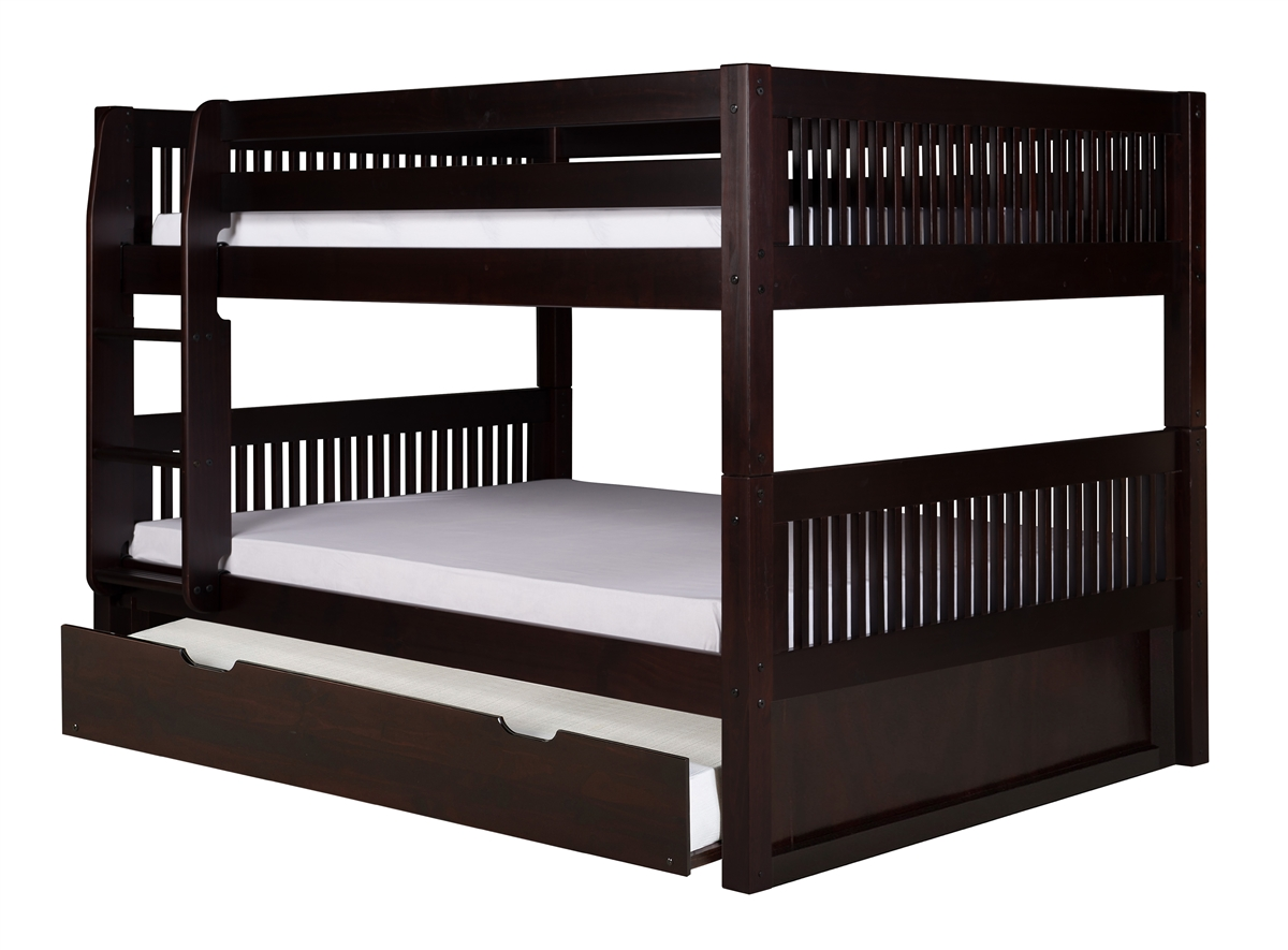 Full On Full Low Bunk Bed Trundle Mission Black