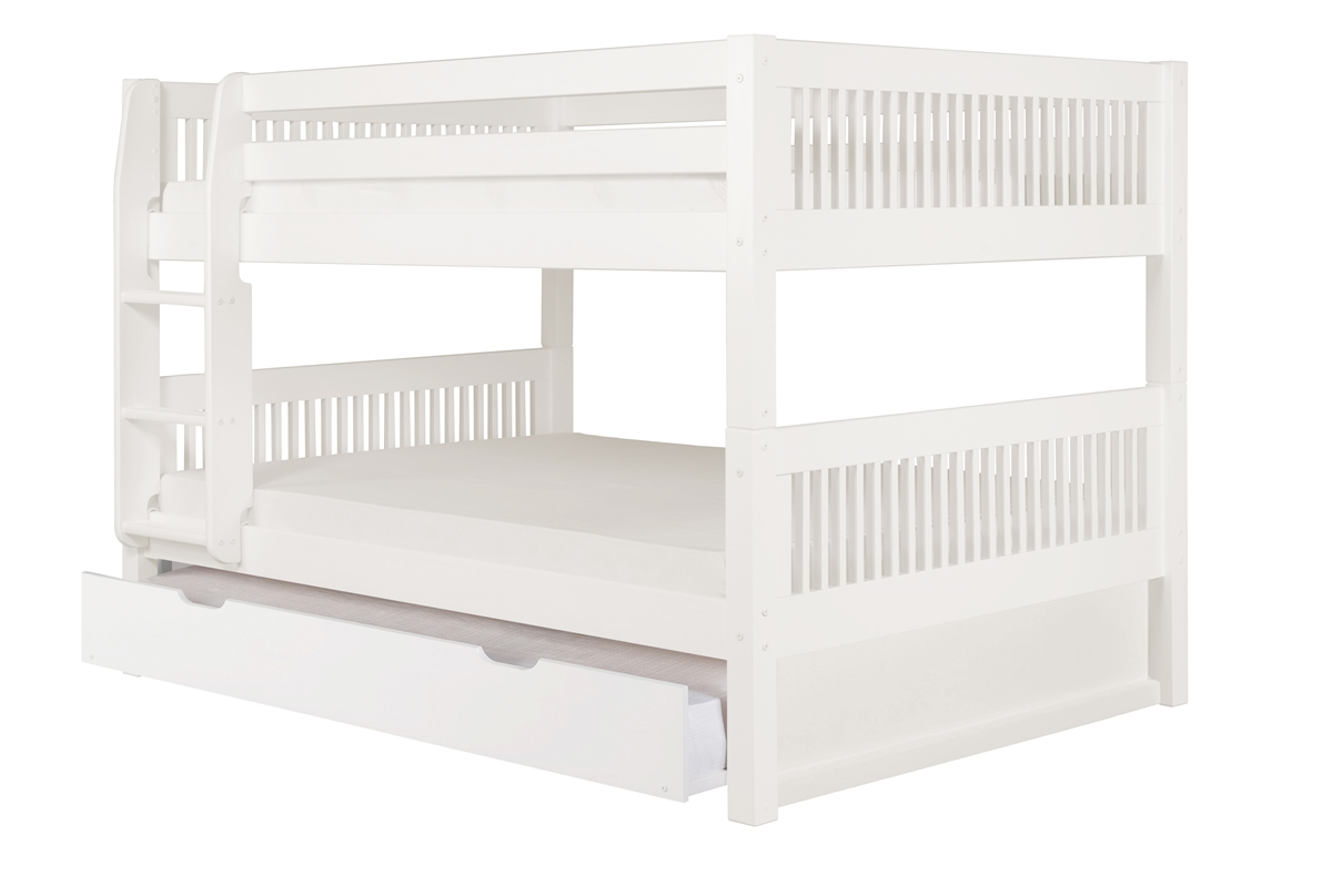 Picture of: Full Over Full Low Bunk Bed Trundle Mission White