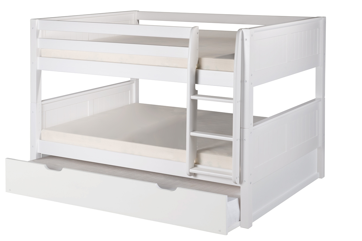 full over full low bunk bed trundle panel white