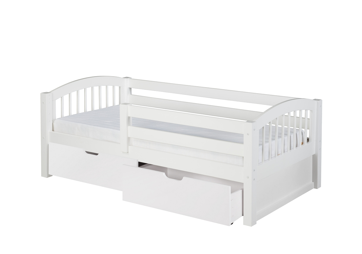 Day Bed Front Guard Rail Drawers Spindle White