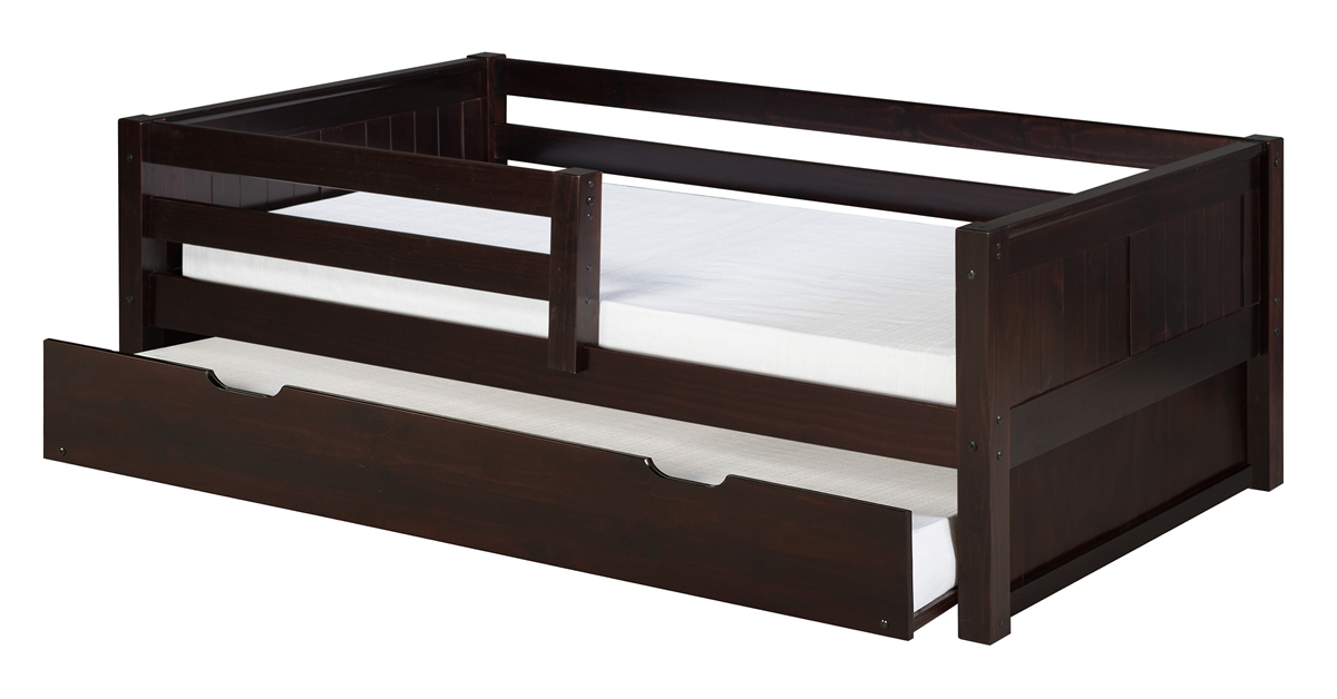 camaflexi day bed with front guard rail with trundle