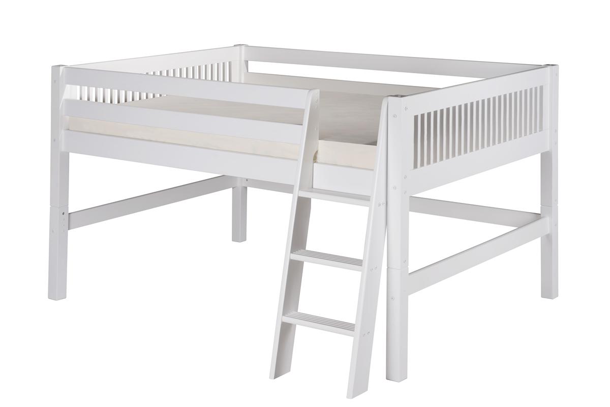 Full Low Loft Bed Mission Headboard White