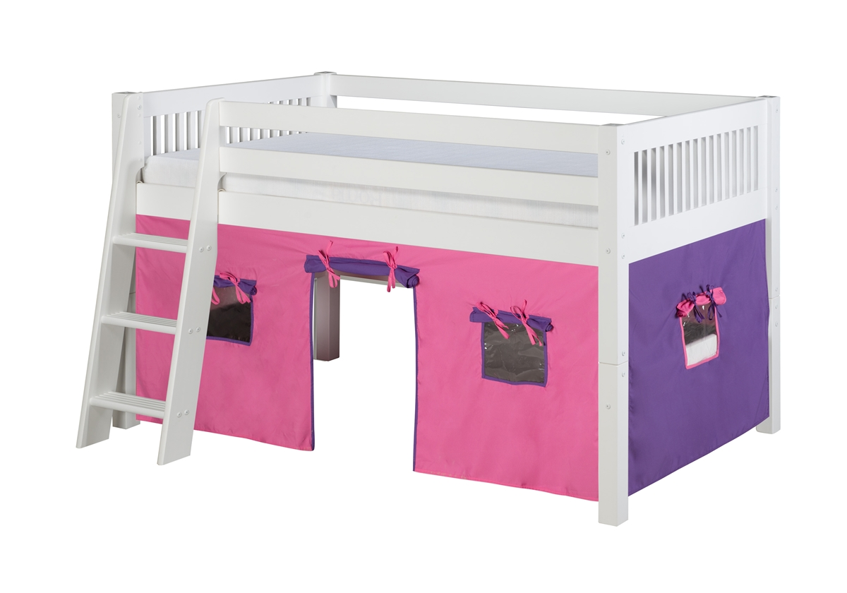 Picture of: Low Loft Playhouse Bed Mission Headboard White