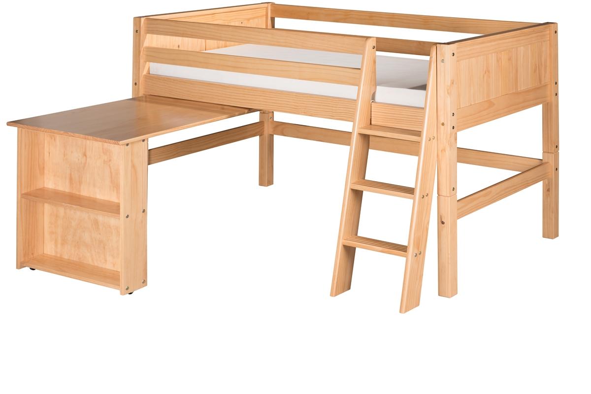 Low Loft Bed Retractable Desk Panel Clear