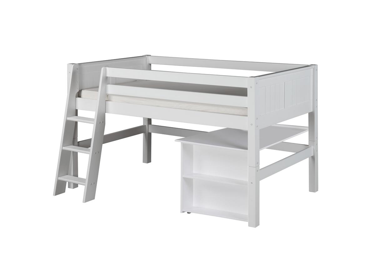 Low Loft Bed Retractable Desk Panel White