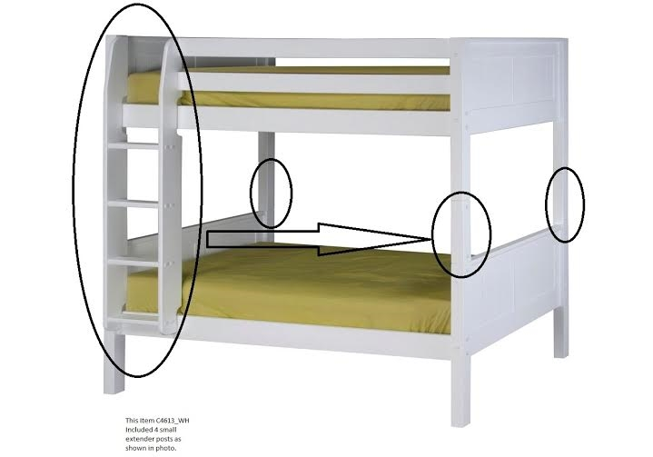 Camaflexi Extender Kit With Attached Ladder For Low Bunk Bed White Finish