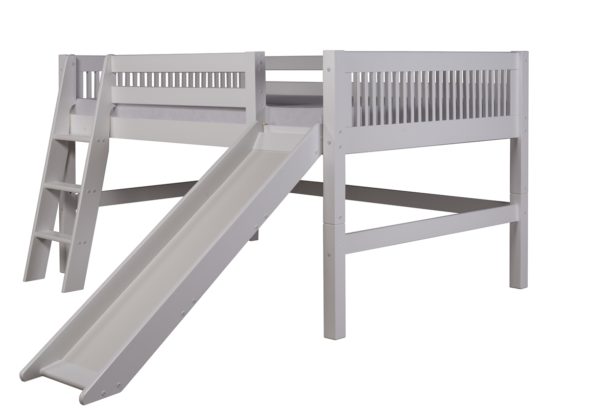 Full Low Loft Bed With Slide Mission White