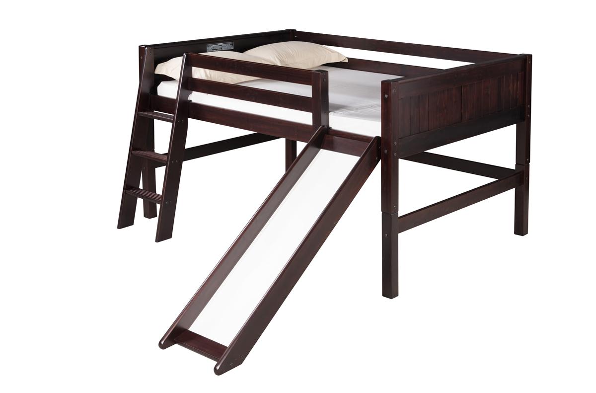Full Low Loft Bed With Slide Panel Headboard Black