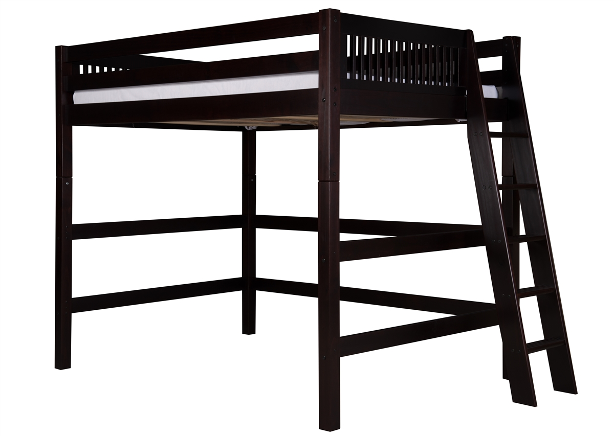 Picture of: Full High Loft Bed Mission Lateral Ladder Black