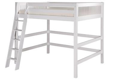 Full High Loft Bed Mission Headboard White