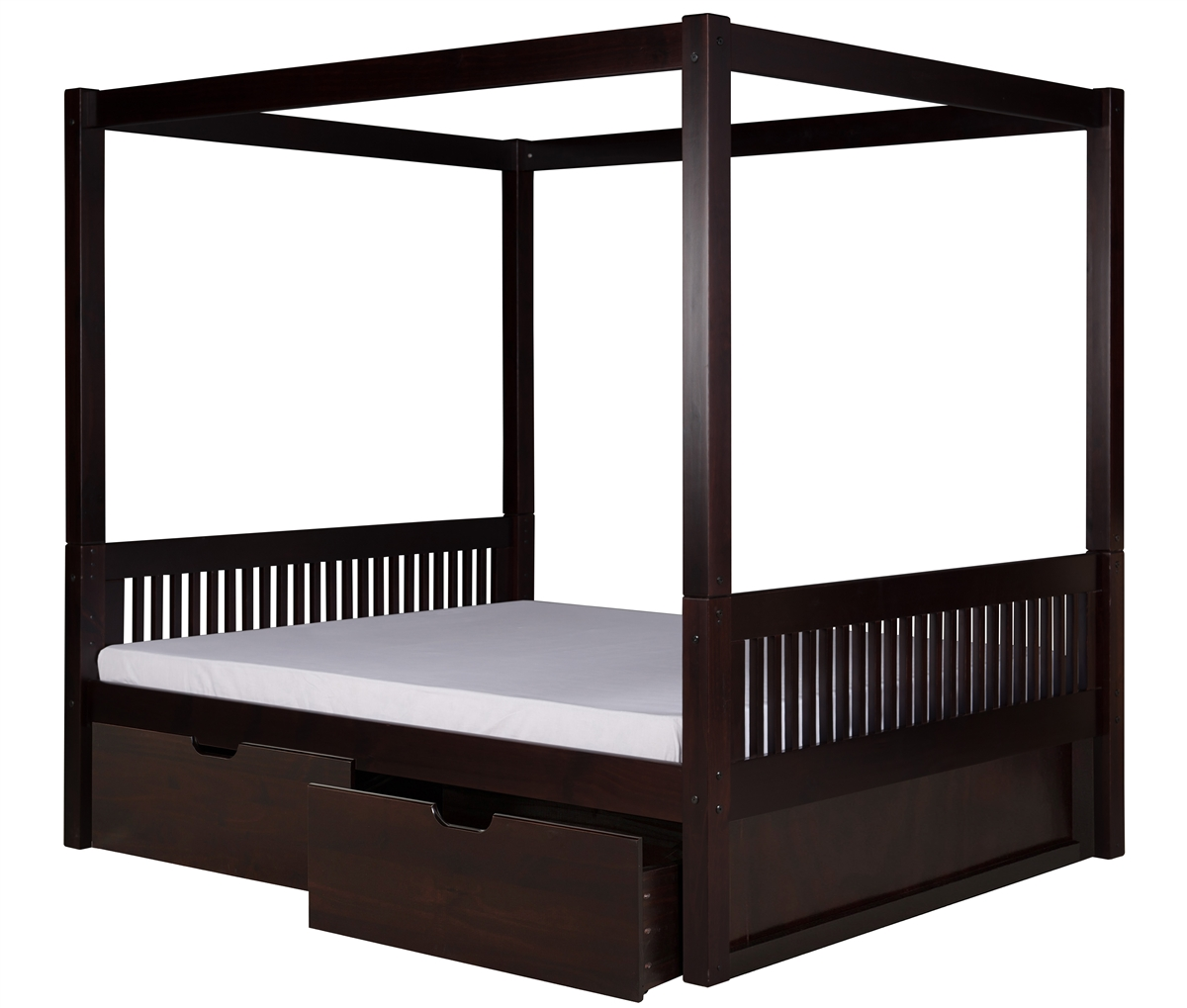 - Canopy Bed With Drawers Mission Headboard Black