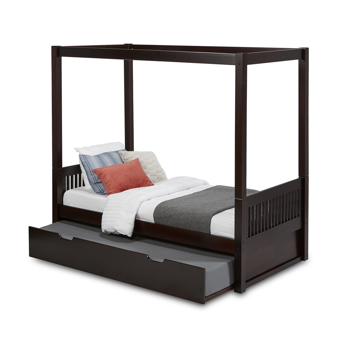 - Canopy Bed With Trundle Mission Headboard Black